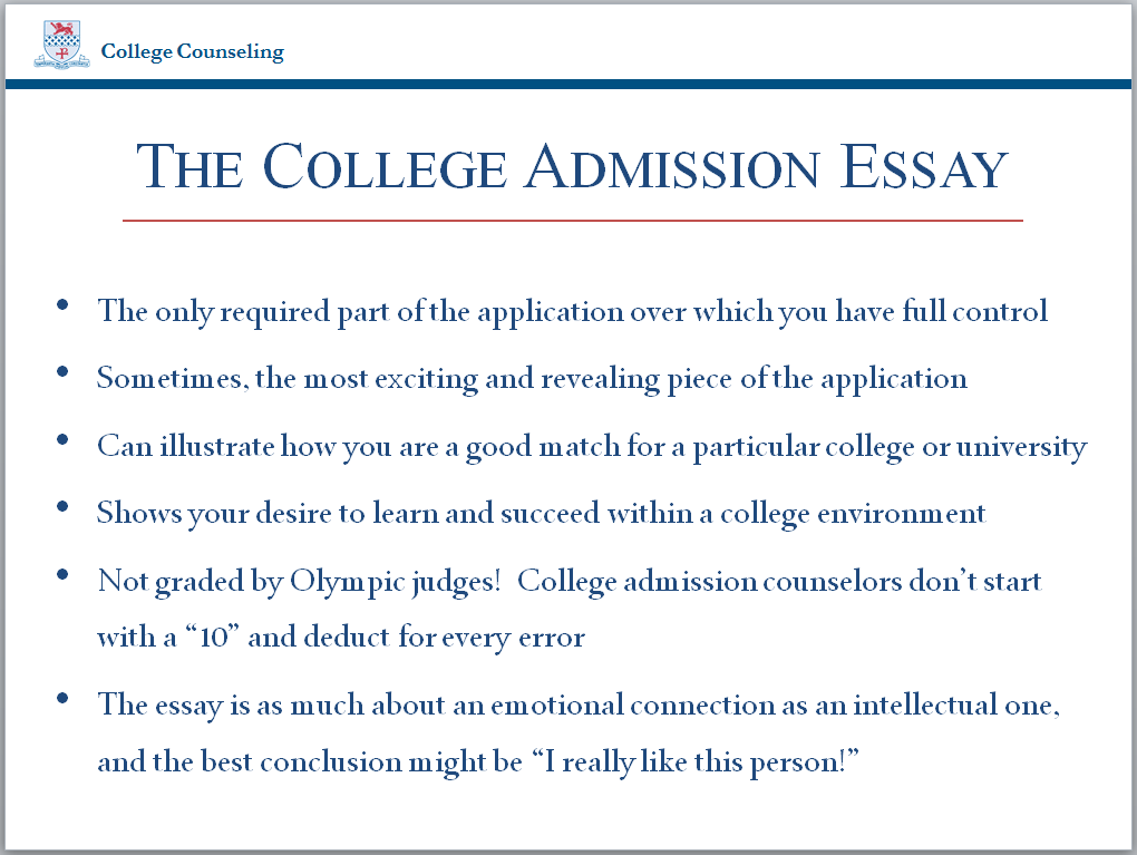 write college admission essay The college application essay is your chance to show schools who you are learn how to write a college essay that sets you apart.