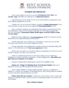 5th Form Summer Checklist 2018