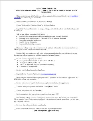 6th Form September Checklist 2018