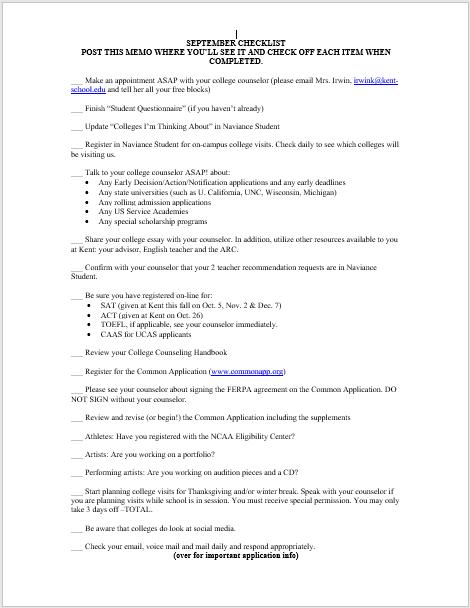 6th Form September Checklist 2019